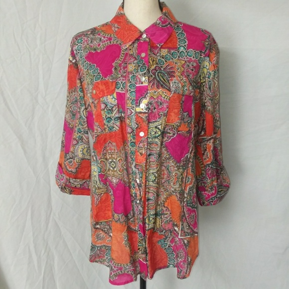 971f63a46 Chico's Tops | Chicos Paisley Print Button Down Shirt Size 2 | Poshmark